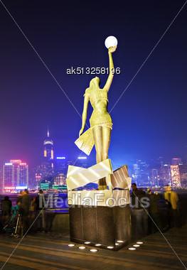 HONG KONG - FEBRUARY 21: Hollywood Statue At Avenue Of Stars In Hong Kong On February, 21, 2013. Victoria Harbour Is World-famous For Its Stunning Panoramic Night View Stock Photo