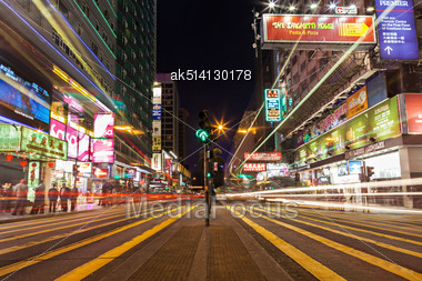 HONG KONG - FEBRUARY 21: Public Transport Lights On The Street On February 21, 2013 In Hong Kong. Over 90% Daily Travelers Use Public Transport. Its The Highest Rank In The World Stock Photo