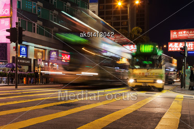 HONG KONG - FEBRUARY 21: Public Transport On The Street On February 21, 2013 In Hong Kong. Over 90% Daily Travelers Use Public Transport. Its The Highest Rank In The World Stock Photo