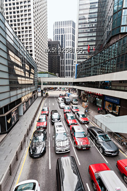 HONG KONG - February 21: Traffic Jam On One The Highways On February 21, 2013 In Hong Kong. Most Of The Vehicles On Hong Kong's Streets Are Taxis Stock Photo