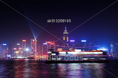 HONG KONG - FEBRUARY 21: Victoria Harbor In Hong Kong On February, 21, 2013. The Victoria Harbour Is World-famous For Its Stunning Panoramic Night View And Skyline Stock Photo