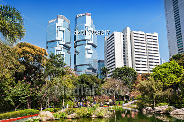 HONG KONG - FEBRUARY 22:Hong Kong Park On February 22, 2013 In Hong Kong. Its An Example Of Modern Design And Facilities Blending With Natural Landscape Stock Photo