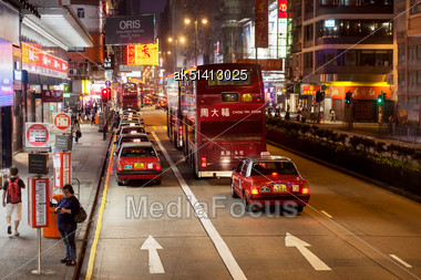 HONG KONG - MARCH 18: Public Transport On The Street On March 18, 2013 In Hong Kong. Over 90% Daily Travelers Use Public Transport. Its The Highest Rank In The World Stock Photo