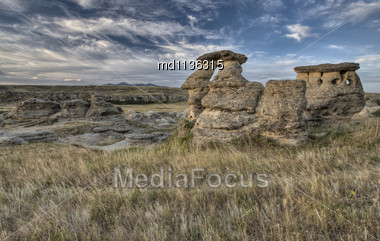 Hoodoo Badlands Alberta Canada Writing On Stone Park Stock Photo