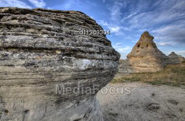 Hoodoo Badlands Alberta Canada Writing On Stone Park Stock Photo