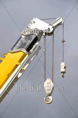 Hook On A 70 Tonne Crane Against A Clear Sky Stock Photo