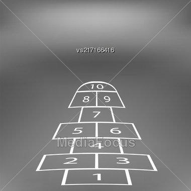 Hopscotch Game Isolated On Abstract Soft Grey Background Stock Photo
