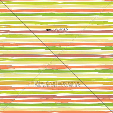 Horisontal Seamless Striped Pattern. Hand Painted Background With Ink Brush Stroke. Earth And Nature Color Stripes On White Background. Can Be Used For Prints, Wallpaper, Baby Shower Invitation, Birth Stock Photo