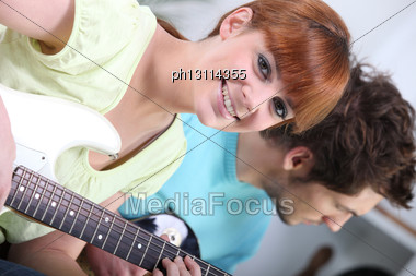 Horizontal Image Of Girl With Guitar Stock Photo