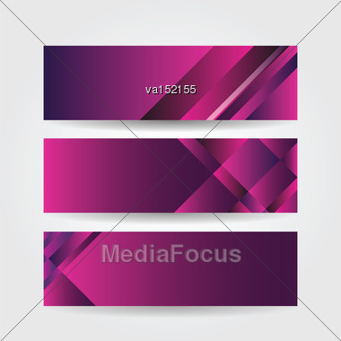 Horizontal Purple Banners Vector Illustration Stock Photo