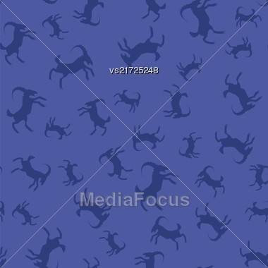 Horned Goats Seamless Pattern Isolated On Blue Background. Silhouettes Of Ram Stock Photo