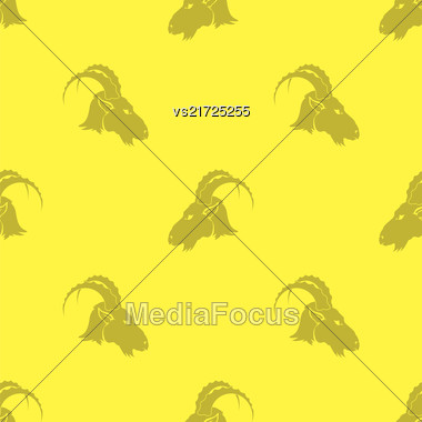 Horned Goats Seamless Pattern Isolated On Yellow Background. Grey Silhouette Of Ram Stock Photo