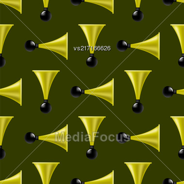 Horns Isolated On Dark Background. Musical Seamless Pattern Stock Photo