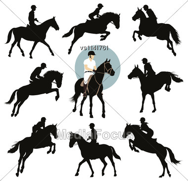 Horse And Rider Jumping Vector Silhouettes Set. Equestrian Sports. EPS8 Stock Photo