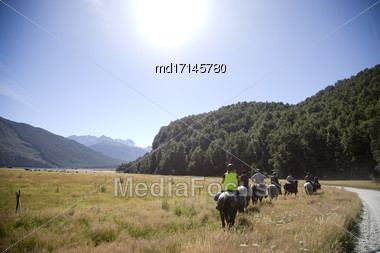 Horseback Riding Mount Aspiring National Park New Zealand Stock Photo