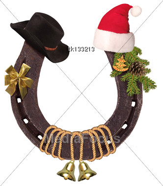 Horseshoe And Christmas Elements With Santa Hat And Cowboy Hat Isolated On White For Design Stock Photo