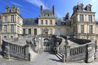 Horseshoe Staircase Of The Castle Of Fontainebleau Stock Photo