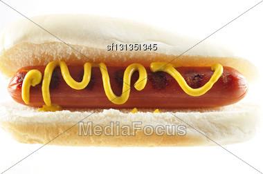 Hot Dog , Close Up On White Background Stock Photo