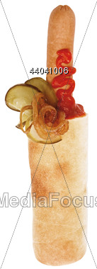 Hot Dog Wrap With Grilled Onions Stock Photo