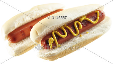 Hot Dogs , Close Up On White Background Stock Photo