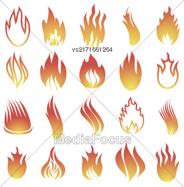 Hot Fire Icons Isolated On White Background Stock Photo
