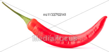 Hot Red Chili Or Chilli Pepper Isolated On White Background Cutout Stock Photo