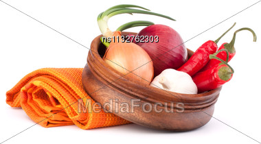 Hot Red Chili Or Chilli Pepper In Wooden Bowl Isolated On White Background Cutout Stock Photo
