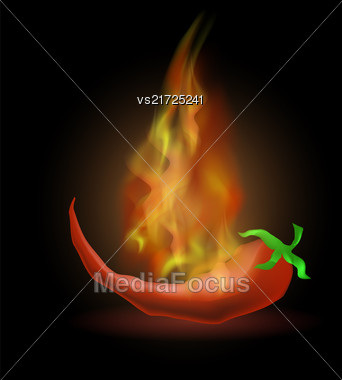 Hot Red Fresh Pepper With Fire Flame On Dark Background Stock Photo