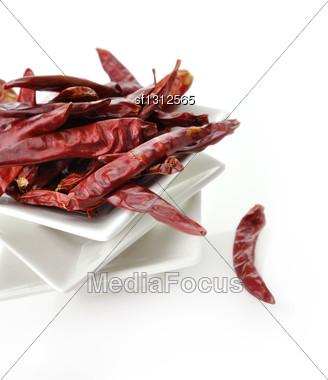 Hot Red Pepper In White Dish , Closeup Stock Photo