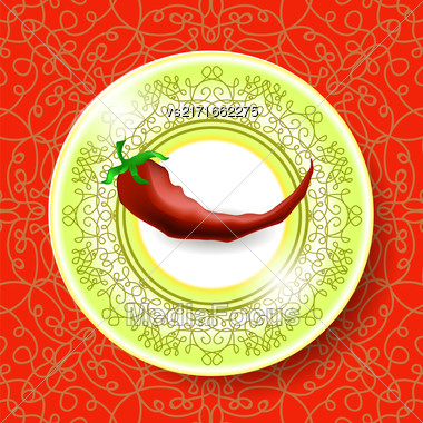 Hot Red Pepper On White Plate And Modern Ornamental Tablecloth Stock Photo