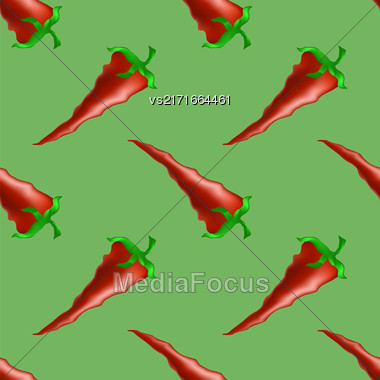 Hot Red Peppers Seamless Pattern On Green Background Stock Photo