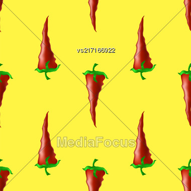 Hot Red Peppers Seamless Pattern On Yellow Background Stock Photo