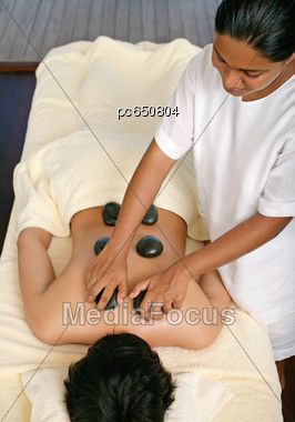 Hot Stone Massage, Ayurveda Stock Photo