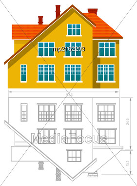House Icon And Drawing. Vector Illustration On White Background Stock Photo