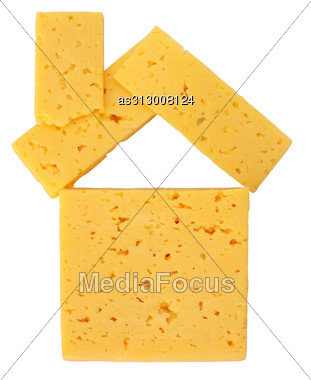 House Of Pieces Of Cheese Stock Photo