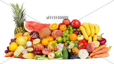 Huge Group Of Fresh Vegetables And Fruits Isolated On A White Background. Shot In A Studio Stock Photo