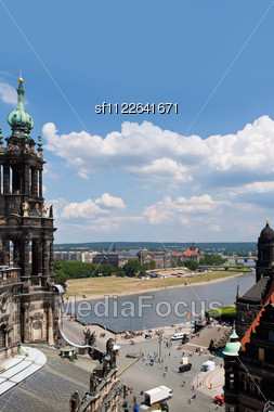 Huge Panorama Of Dresden, Germany. Cityscape. Skyline Stock Photo
