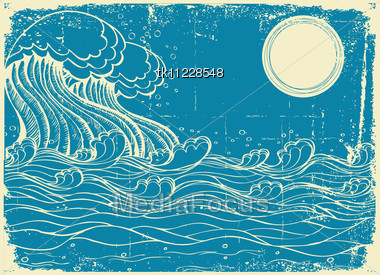 Huge Sea Waves. Vector Grunge Illustration Of Nature Stock Photo