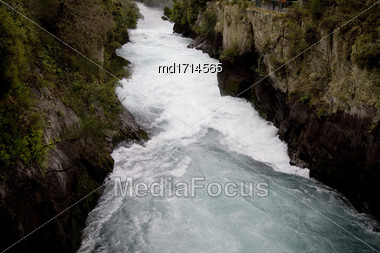 Huka Falls Taupo New Zealand Flowing White Water Stock Photo