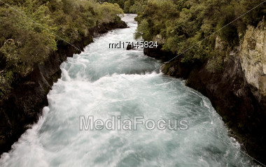 Huka Falls Taupo New Zealand Flowing White Water Stock Photo