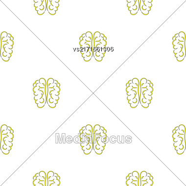 Human Brain Icon Seamless Pattern On White Stock Photo