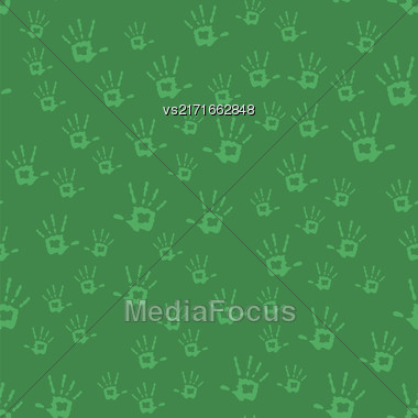 Human Hands Seamless Pattern Isolated On Green Background Stock Photo