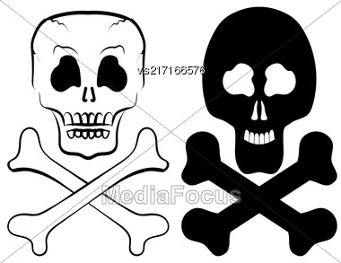 Human Skull Cross Bones Isolated On White Background Stock Photo