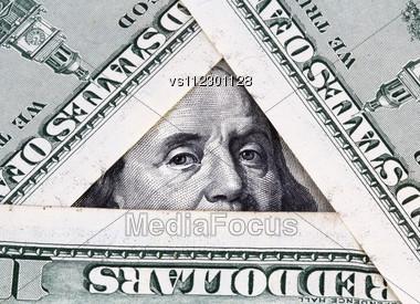 Hundred Dollar Bills Close Up Stock Photo