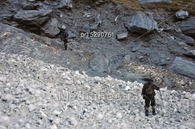 Hunters Cross A Small Glacier In The Southern Alps, New Zealand Stock Photo