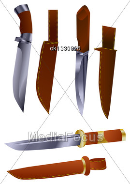 Hunting Knives With Sheath Isolated On White Stock Photo