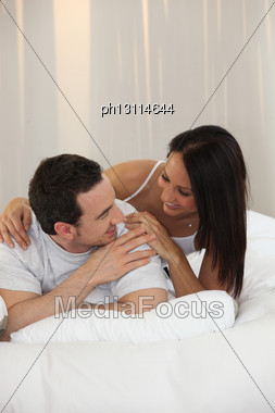 Husband And Wife In A Moment Of Tenderness Stock Photo