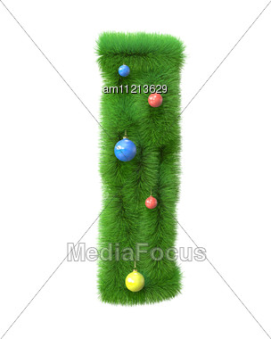 I Letter Made Of Christmas Tree Branches Stock Photo