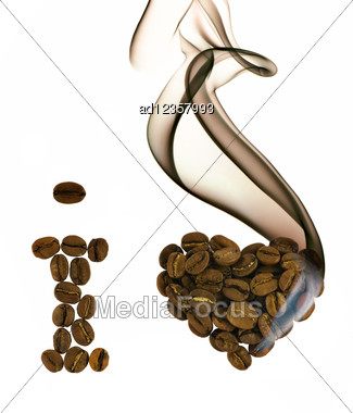 I Love Coffee From Beans With Smoke Stock Photo