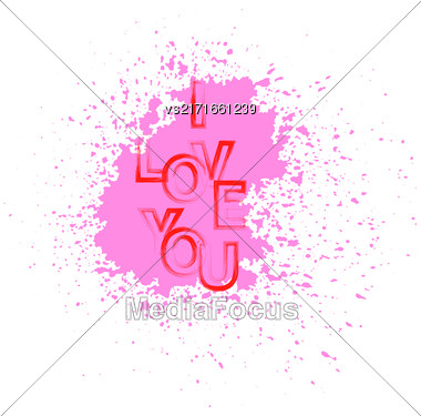I Love You Red Text With Pink Splatter On White Background Stock Photo